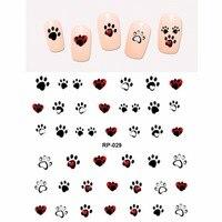Дизайн ногтей красивые наклейки для ногтей воды Наклейка слайдер мультфильм коготь животного в виде лапы печати RP025-030