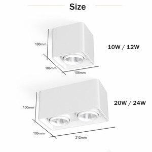 Image 3 - [DBF] kwadratowe COB LED z możliwością przyciemniania Downlights 10W 12W 20W 24W montowane na powierzchni lampy sufitowe LED światło punktowe LED oprawy AC85V 265V
