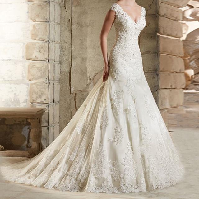 Robe de Mariage Lace Mermaid Long Wedding Dress Bride 2019 Appliques Beaded Luxury Wedding Gowns Bridal Dresses Vestido de Noiva
