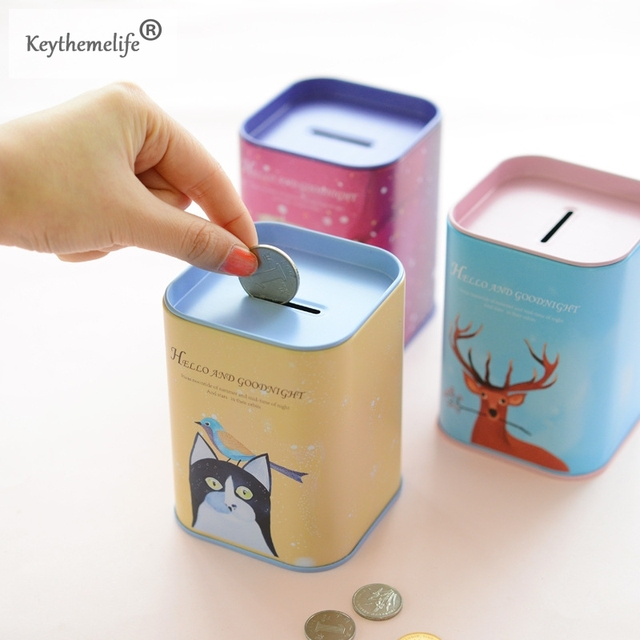 Keythemelife Cute Iron Square Bank Saving Cash Coin Money Box Children Toy Kids Piggy Gifts