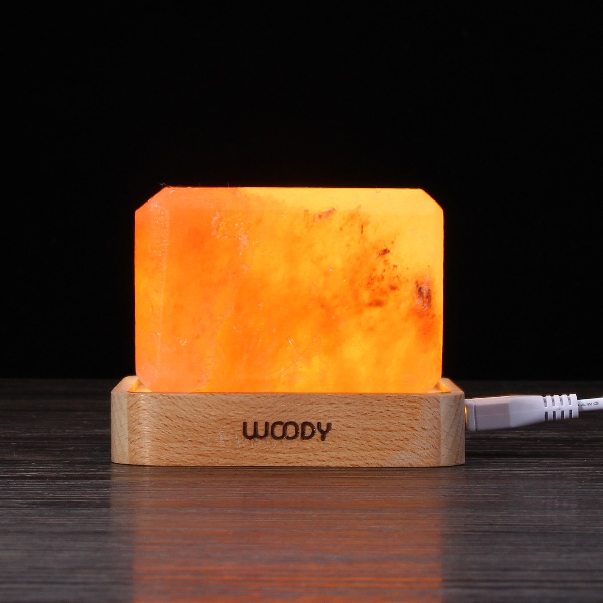 Crystal Himalayan Salt Lamp Air Purifier Night Light USB Power Desk Lamp Bedside Bar Coffee Shop Home Decor Warm White Lighting