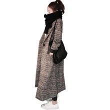 HAMALIEL S-XXL Женская шерстяная Верхняя одежда модное зимнее плотное твидовое повседневное теплое длинное пальто с отложным воротником