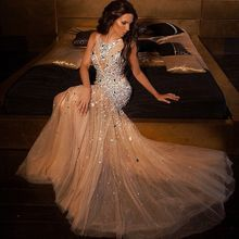 Glänzenden Luxus Abendkleider Mit Perlen Lange Abendkleider Champagne Kleid Edler Oansatz Spaghetti Strap Bodenlangen