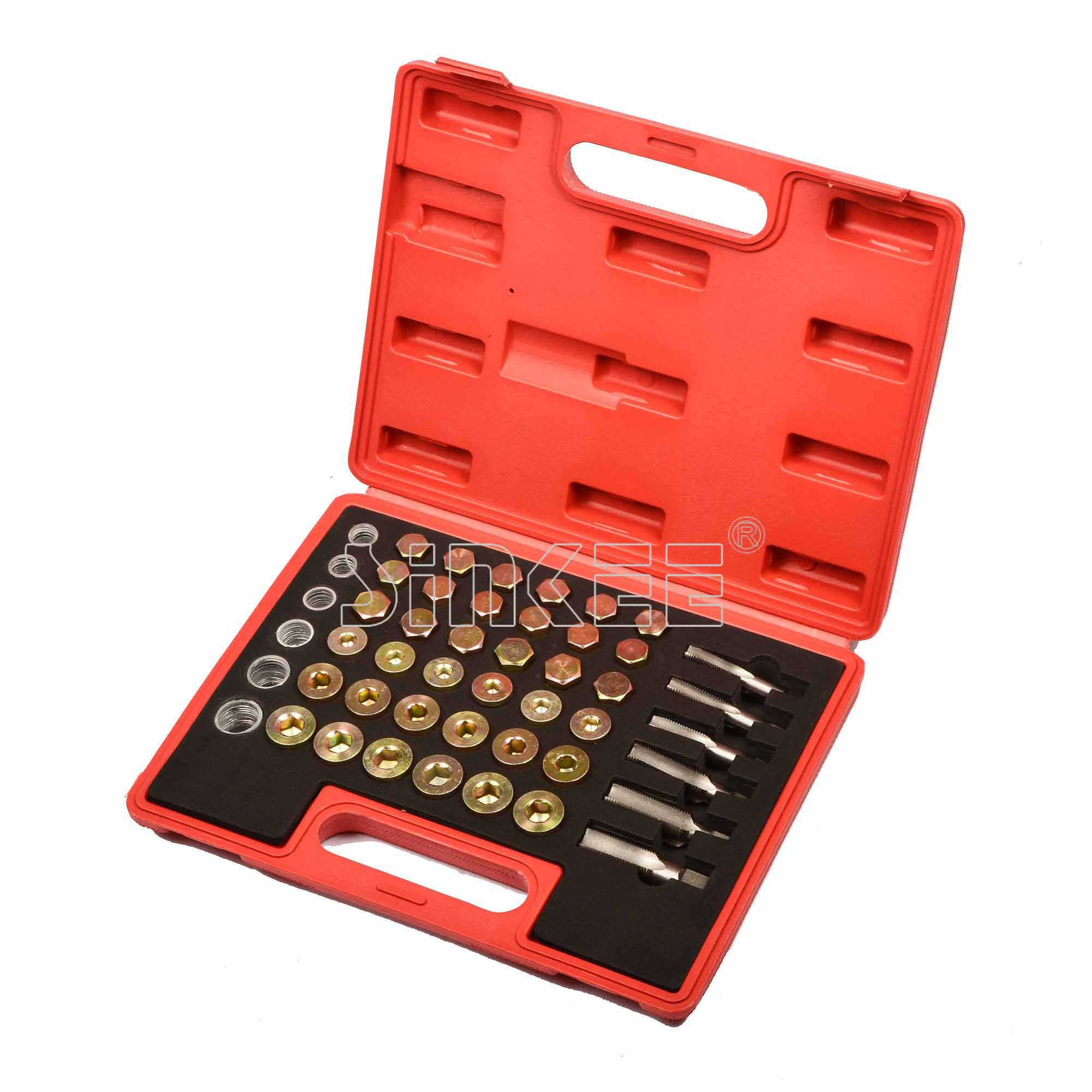 114pc Oil Pan Thread Repair Kit Sump Gearbox Drain Plug Tool Set M13 - M22 SK1140 цена