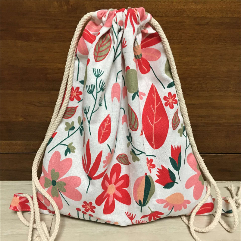 YILE Cotton Linen Drawstring Travel Backpack Student Book Bag Red Autumn Tree Leaf B12