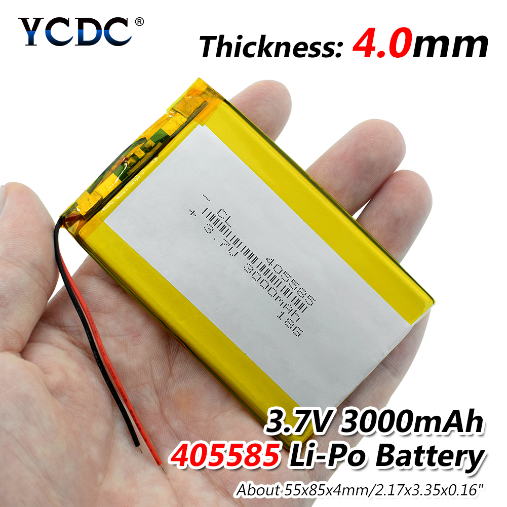 Wholesale 405585 Lithium Polymer Battery 3.7V 3000mAh Li ion Rechargeable Accumulator For MP4 MP5 Mobile Power Bank DIY E-book portable mobile lithium polymer 3500mah lithium polymer power bank silver