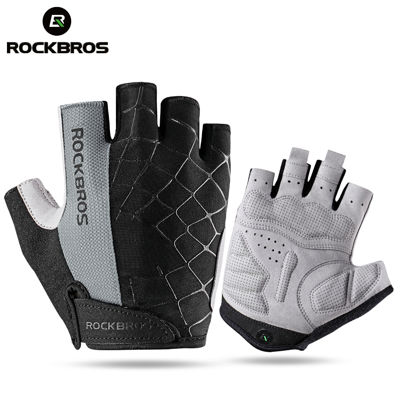 цена на ROCKBROS Cycling Bike Half Short Finger Gloves Shockproof Breathable MTB Road Bicycle Gloves Men Women Sports Cycling Equipment