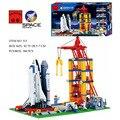 ILUMINAI Espaço Série Space Shuttle Lançamento Base de Astronauta Montar Modelo de Blocos de Construção Crianças Brinquedos Educativos Crianças