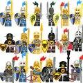 Super heroes Золотой Средневековый Замок Света Броня Рыцаря Синий Лев с Оружием Фигурки Строительных Блоков Кирпичи Детей Игрушки