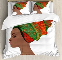 African Woman Duvet Cover Set, Afro Female Young Beauty Traditional Hair Dress Turban Ornate, 4 Piece Bedding Set