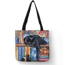 Женские сумки-тоут с принтом кошки, льняные многоразовые сумки для покупок, сумки через плечо для женщин