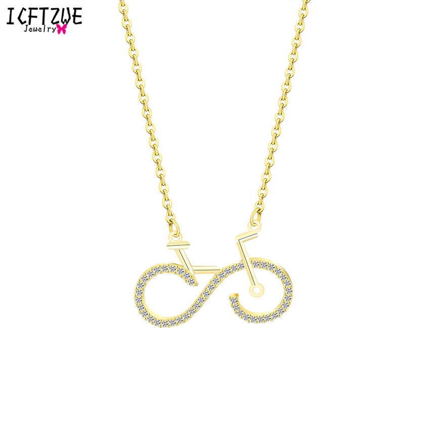 Boho Jewelry Stainless Steel Chain CZ Unique Bike Pendant Necklaces Women Colar Choker Gargantilha Gold Ketting Travel Gift