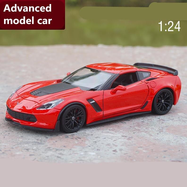 Haute simulation corvette Z06 1:24 échelle avancée alliage voiture jouet, diecast metal modèle jouet véhicule, collection modèle livraison gratuite