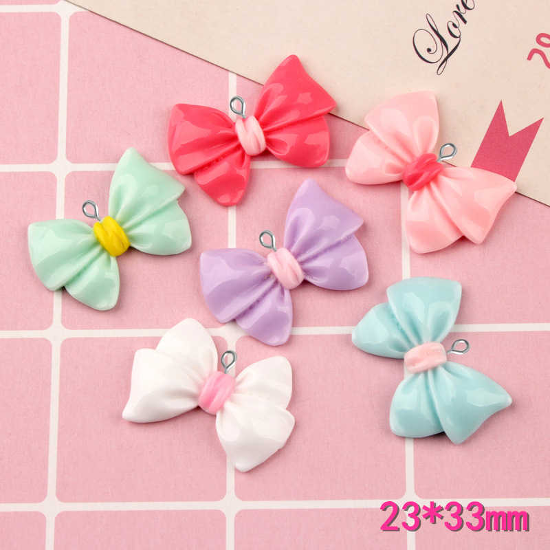 10pcs 23*33mm Mix Bow tie resin charms mobile phone shell cream cosmetic material bow tie headwear hair jewelry accessories DIY