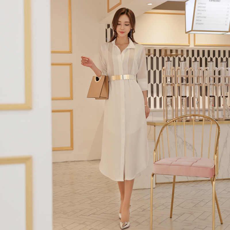 Moda rahat mizaç katı beyaz kadın elbise yeni varış rahat gevşek seksi perspektif resmi asimetrik elbise