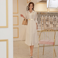 fashion casual temperament solid white women dress new arrival comfortable loose sexy perspective formal asymmetrical dress