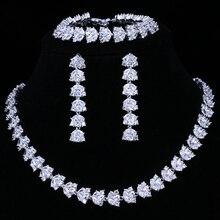 Emmaya ensemble de bijoux de mariée pour femmes, luxe 3 pièces en Zircon pavé à la main, AAA, lot de bijoux de mariage, offre spéciale