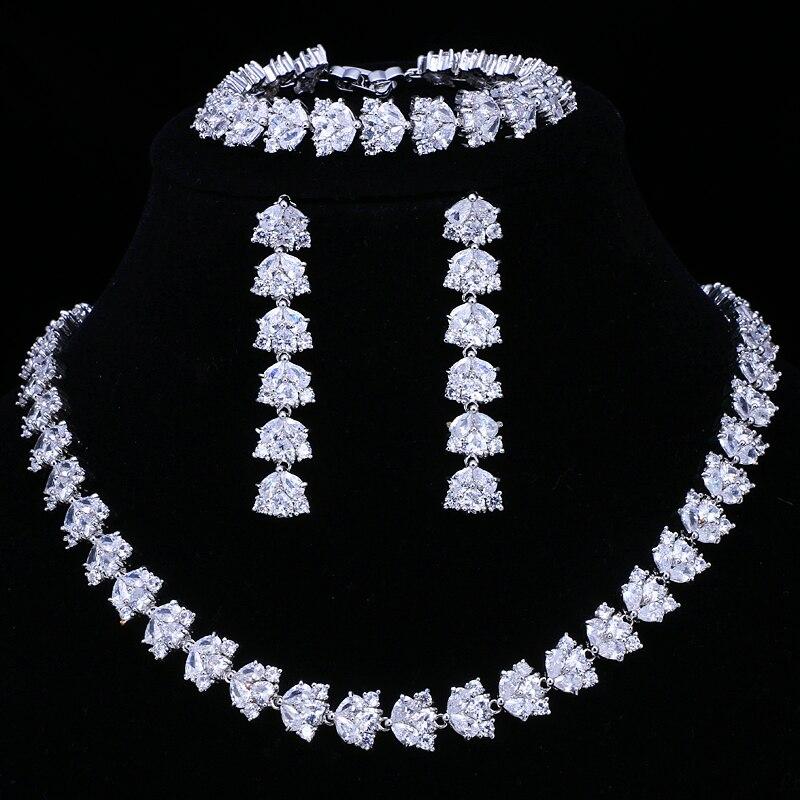 Conjuntos de Jóias de Noiva de Luxo para Mulher Pavimentado à Mão Conjunto de Jóias de Casamento Emmaya Venda Quente Espumante Zircão 3 Pçs Aaa