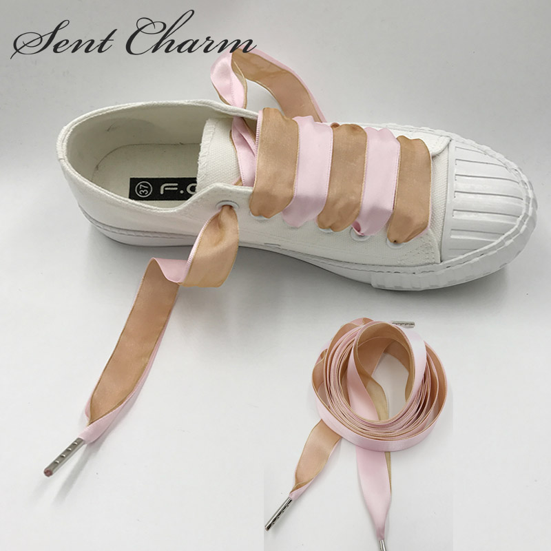 SENTCHARM Mixed Color Double-faced Silk Ribbon Shoes Strap Pink Brown New Style Shoelaces With Metal Aglets For Girls weiou fashion flat silk ribbon shoelaces princess sneaker colorful sport shoes laces with 2cm width metal aglets drop shipping