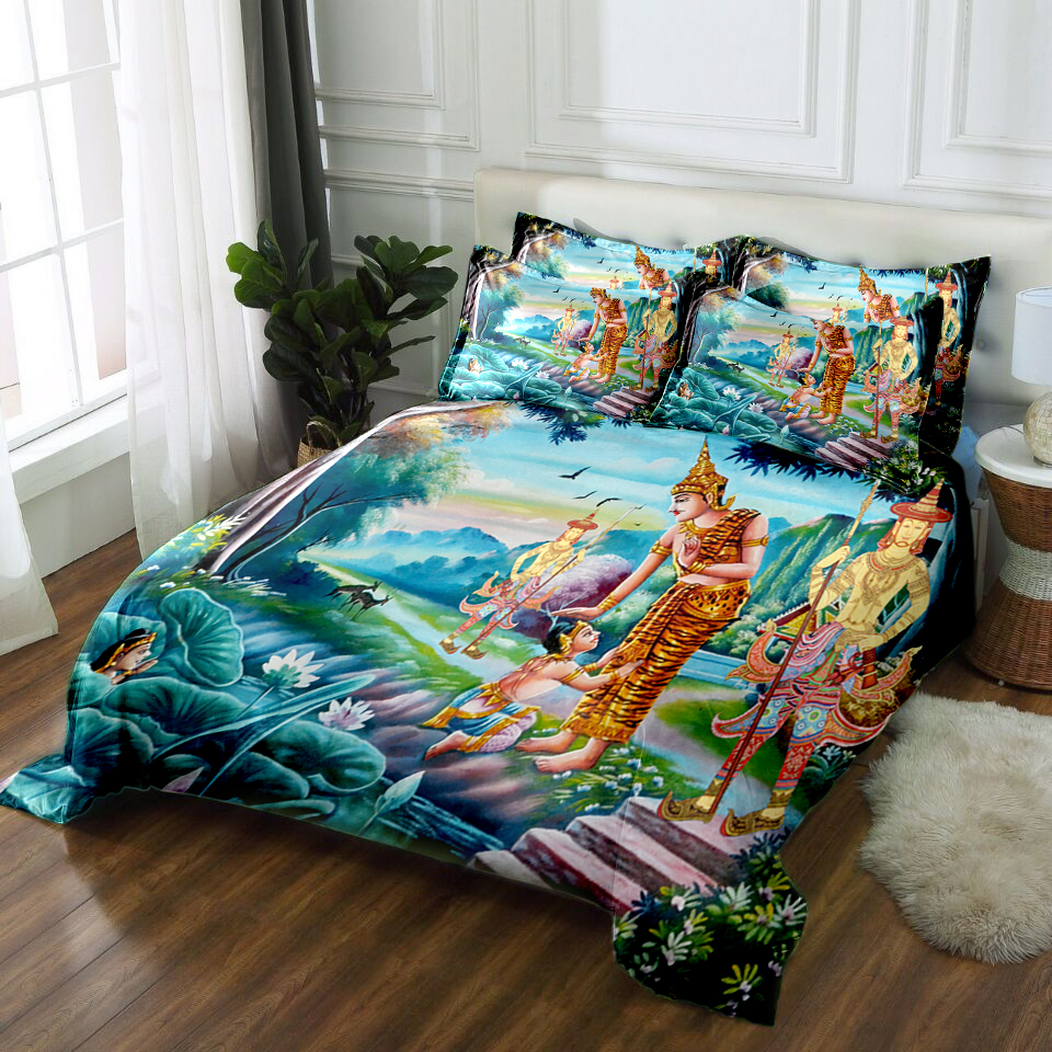 Home 3D Floral Bed Pillowcase Quilt Cover Duvet Cover Sets Twin Queen King Size