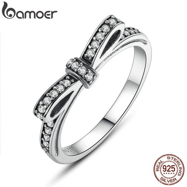 BAMOER HOT 925 Sterling Silver Sparkling Bow Knot Empilhável Anel Micro Pave CZ para Mulheres Jóias Presente Do Dia Dos Namorados PA7104
