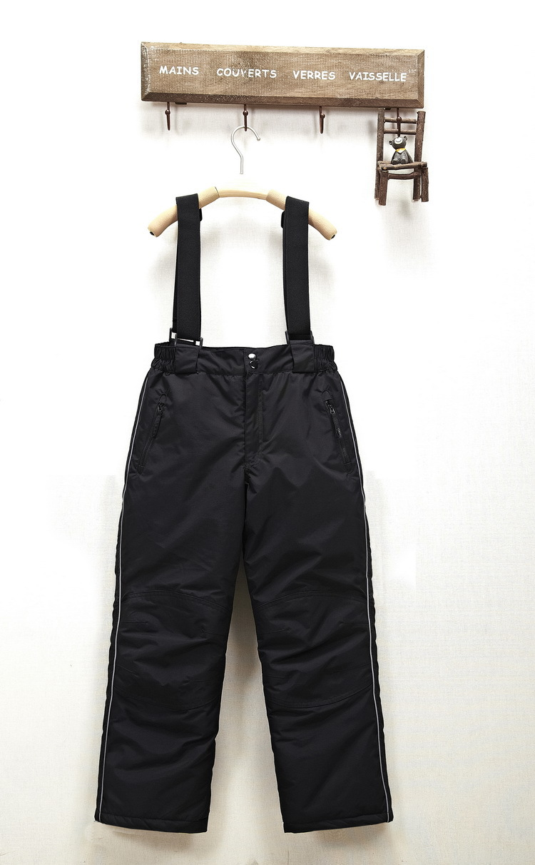 ФОТО Child winter thickening cotton-padded suspenders detachable professional windproof waterproof wear-resistant outdoor trousers