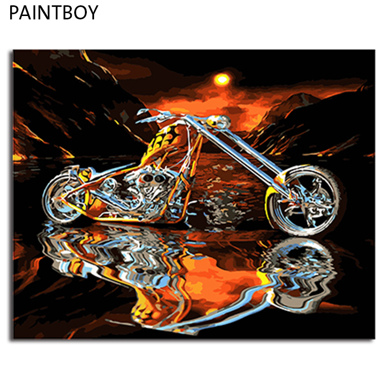 PAINTBOY Framed Picture Painting & Calligraphy DIY Oil Painting By Numbers Kit Paint On Canvas Wall Art
