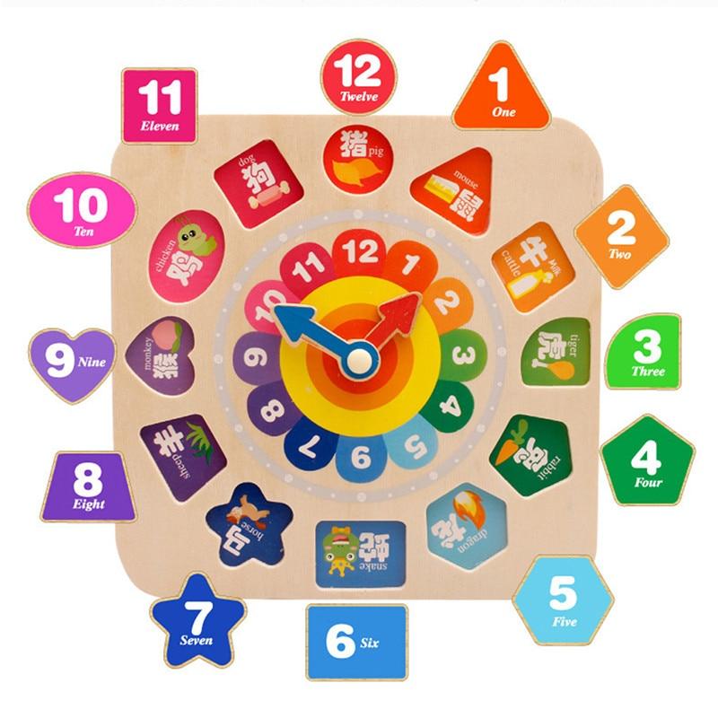 Enthousiast Creatieve Nieuwe Hot Baby Klok Erkenning Tijd Vroegschoolse Speelgoed Kinderen Intelligentie Houten Diy Kralen Bouwstenen Speelgoed