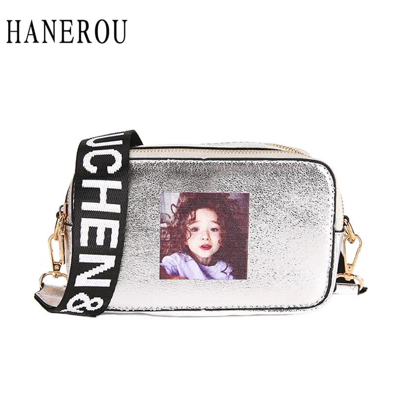 HANEROU Fashion Alphabet Width Straps Women Shoulder Bags Cracked Reflective Crossbody Ladies Bag Double Zipper Borsa a tracolla