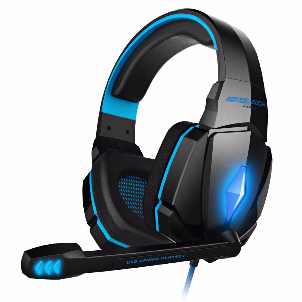 KOTION EACH Original Gaming Headset Deep Bass Stereo Game Headphone Noise Cancelling Earphone with microphone led light for pc led bass hd gaming headset mic stereo computer gamer over ear headband headphone noise cancelling with microphone for pc game