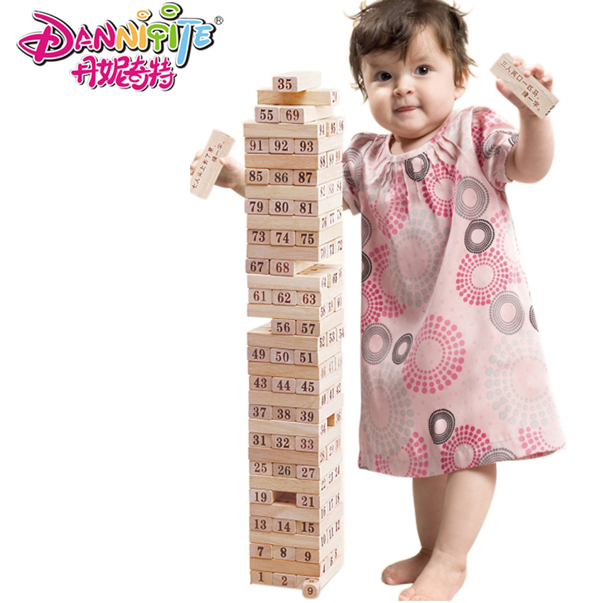 DANNIQITE 100pcs Wooden Tower Building Blocks Toy Domino Stacker Extract Building Educational Jenga Game Gift kitchen chrome plated brass faucet single handle pull out pull down sink mixer hot and cold tap modern design