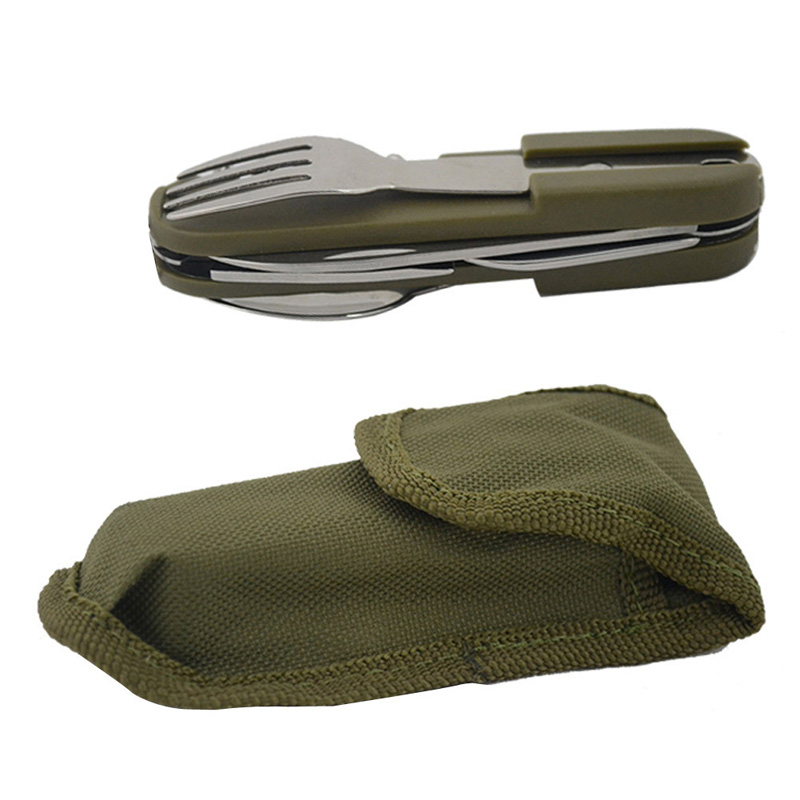 Outdoor Folding Tableware Multi functional Portable font b Camping b font Survival Stainless Tool Knife and