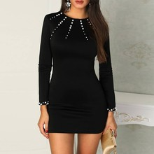 Feitong/черные вечерние платья с жемчугом и бисером; женское однотонное облегающее мини-платье; зимнее женское элегантное короткое платье с длинным рукавом