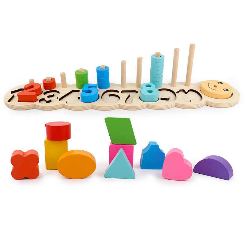Chico de madera para aprender a contar los números juego Digital forma encuentro educación enseñando matemáticas Juguetes