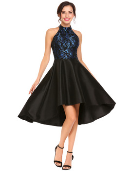 Vintage Style Asymmetrical Halter Midi Dress