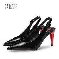 Черный туфли лодочки из лакированной кожи женская обувь Стилет очень высокий каблук сплошной Цвет Ремешок на щиколотке модные офисные наза