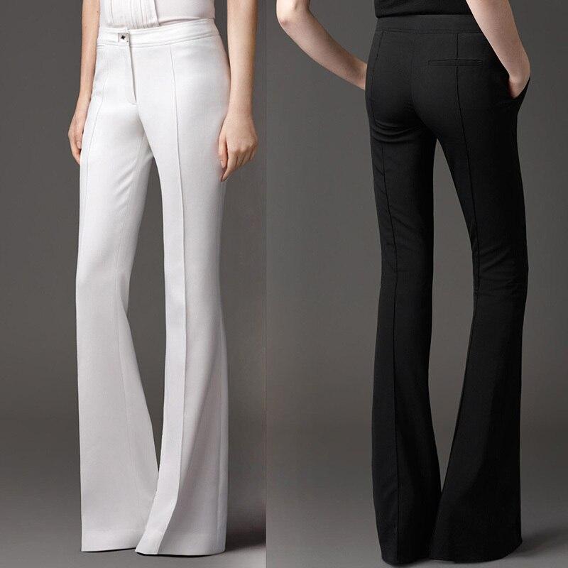 06e70fd48 Italian design High-waist Slim Stretch flare pants Women Office Lady  Business Three Colors Black White Gray Lengthen