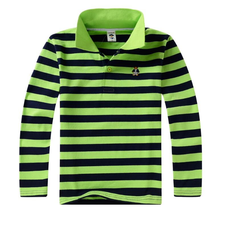 Top qualité enfants enfants garçon t-shirt enfant garçons habillement longtemps manches de coton rayé enfants T-shirts 4 6 8 10 12 14 ans