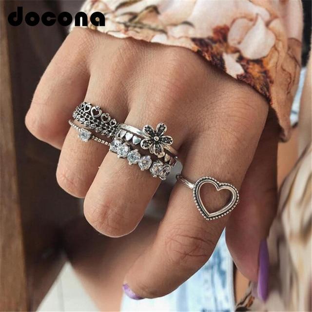 docona Vintage Heart Flower Crown Shape Rings Set for Women Girl Bohemian Carvin