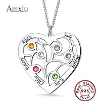 Amxiu Personalized Family Tree Pendant Necklace with Birthstones Silver 925 Necklaces Custom Any Name Heart Pendant Necklaces