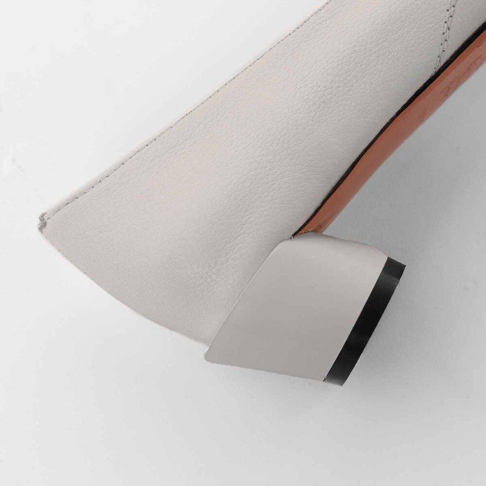 Deslizamiento Clásico De Pie L12 Dedo Elegante Pot Redondo Grano Señora Calidad 2019 Alta Zapatos Cuero negro Mujeres Krazing shallow Beige Completo Oficina Del Las Gray Vintage WOw0a8I1Oq