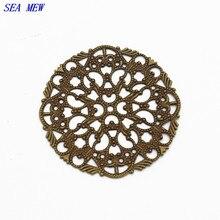 Здесь можно купить  45mm Antique bronze plated hollow flowers filigree wraps connectors jewelry findings cy887  Jewelry Findings & Components