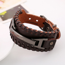 Punk Male Bracelet Wide Genuine Cowhide Leather Cuff Bracelet Wristband Wrap Titanium Plated Mens Bangles Belt Buckle Jewelry
