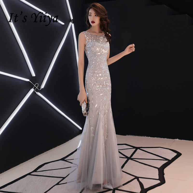 It's YiiYa   Evening     Dress   Embroidery Print O-neck Floor length Formal Trumpet   Dresses   Gray Sleeveless Skinny Party Gown E047