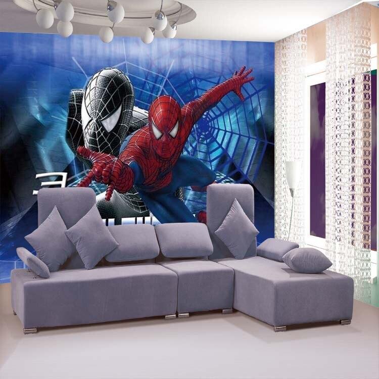 Gratis verzending 3D anime Spiderman slaapkamer behang cartoon ...