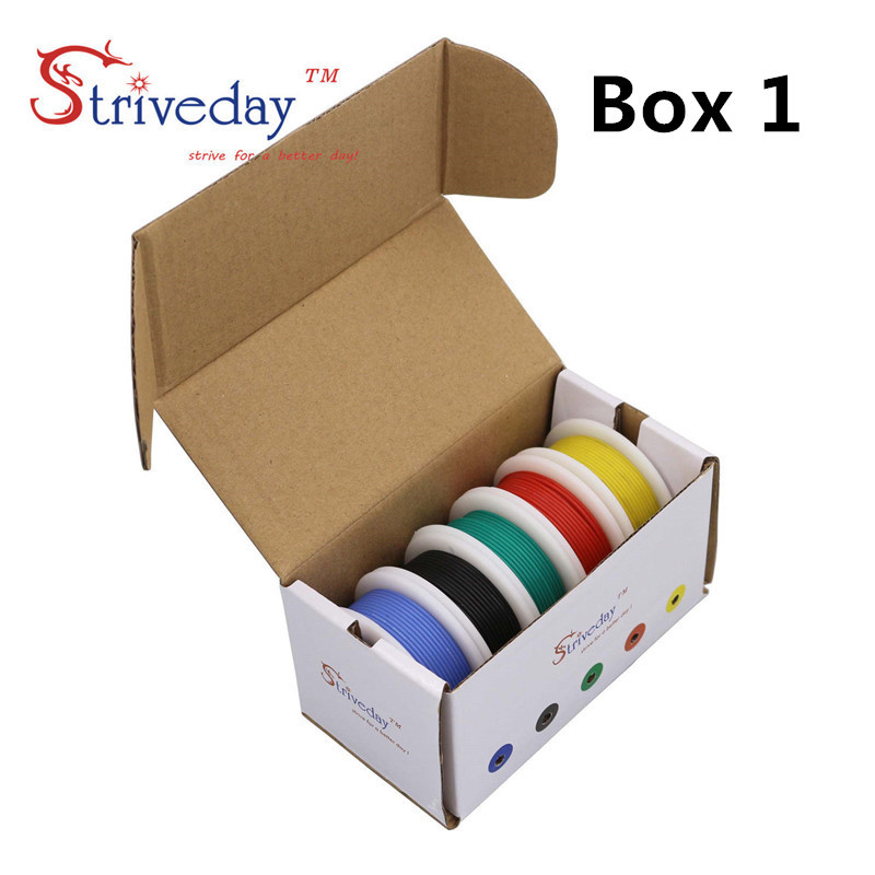 28AWG 50meters Flexible Silicone Cable Wire Tinned Copper line 5 color Mix box 1 box 2 package Electrical Wire Line Copper DIY in Wires Cables from Lights Lighting