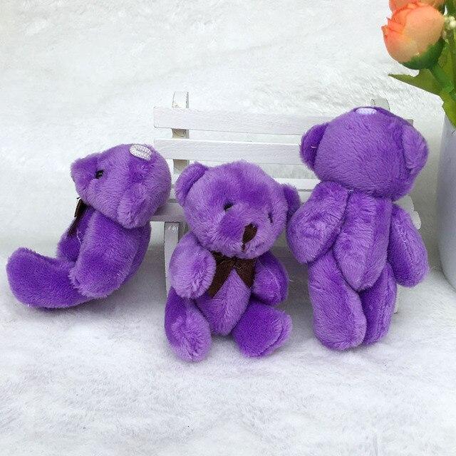 100 pièces/lot Mini ours en peluche en peluche jouets 8CM petit ours en peluche violet jouets pelucia pendentif enfants cadeau danniversaire HMR044