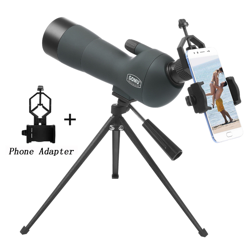 20-60x60 Spotting Scope Zoom Monocular Birdwatch & Universal Phone Adapter Mount lll Night Vision Waterproof Telescope Hunting цена