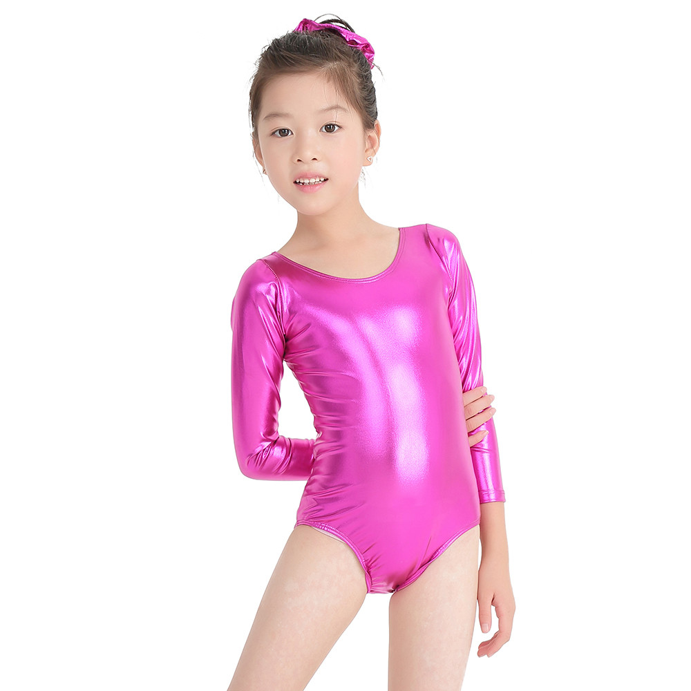 Speerise Girls Shiny Metallic Long Sleeve Leotards Gymnastics Spandex One-piece Leotards Bodysuit Ballet Dance Costumes Kids