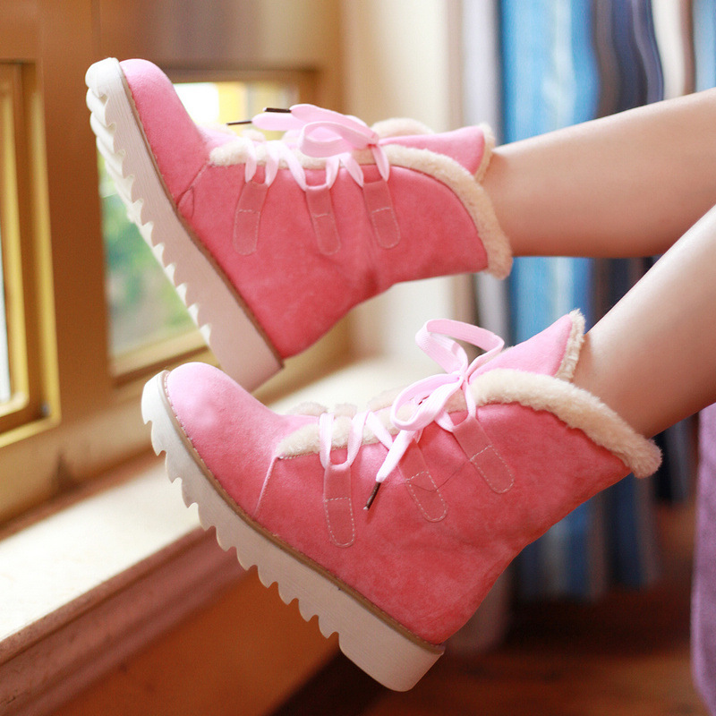 ФОТО 2015 new warm snow boots lace up with flat boots Korean version of casual boots five color available solid sweet hot sale DT543